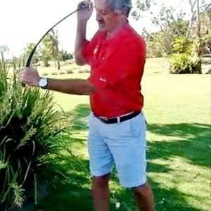Pic 3 - Australian PGA Professional David Lord shows how the load is flexed with the Timing Improver